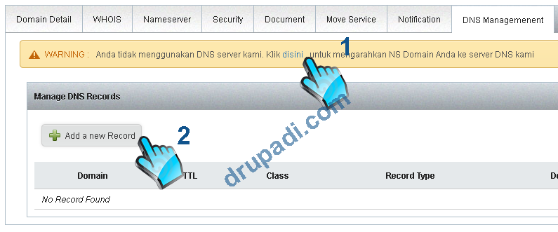 Daftar NS Domain